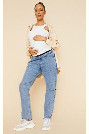PRETTYLITTLETHING Women Straight - Maternity Mid Wash Knee Rip Straight Leg Jeans