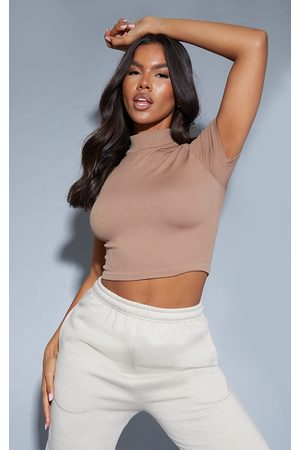 PRETTYLITTLETHING Women Crop Tops - Structured Contour Ribbed Short Sleeve High Neck Crop