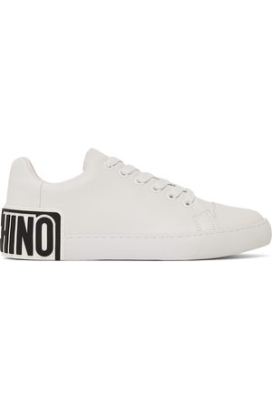 Moschino Women Platform Sneakers - Leather Heel Logo Sneakers