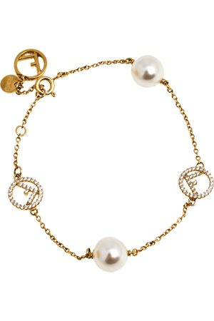 Fendi F is Faux Pearl and Crystal Tone Station Bracelet