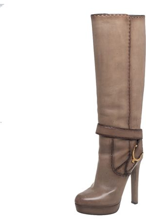 Gucci Leather Knee Length Buckle Detail Boots Size 39
