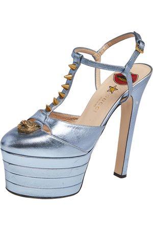 Gucci Metallic Leather Angel T Strap Platform Sandals Size 38