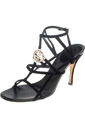 Gucci Suede Interlocking G Strappy Sandals Size 39.5