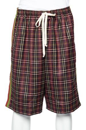 Gucci Violet Tartan Check Wool Drawstring Waist Shorts L