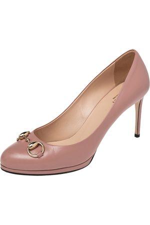 Gucci Leather Jolene Horsebit Round Toe Pumps Size 39