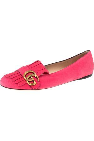 Gucci Suede GG Marmont Fringe Detail Ballet Flats Size 39