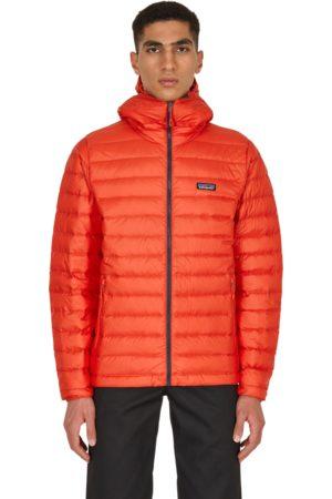 Patagonia Men Hoodies - Down sweater hoody jacket HOT EMBER