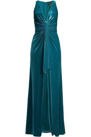 Aidan Mattox Velvet V-Neck Sash Gown