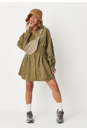 Missguided Petite Khaki Pleated Waist Cord Shirt Dress
