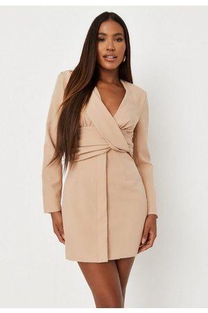 Missguided Stone Drape Front Blazer Dress