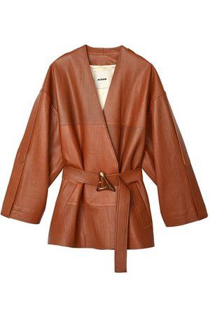 AERON Bocon belted wrinkled leather jacket
