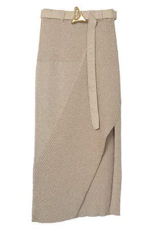 AERON Daria asymmetric ribbed-knit skirt with belt