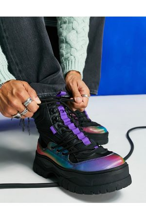 ASOS Chunky sole lace up boot in mesh with iridescent panel detail