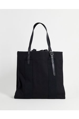 ASOS Heavyweight canvas tote bag with internal compartments and double strap