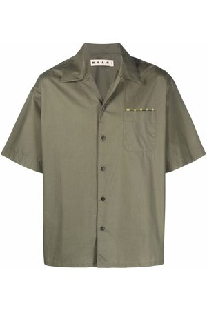 Marni Men Short sleeves - Logo-print short-sleeve cotton shirt