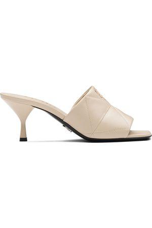 Prada Quilted tapered heel sandals - Neutrals