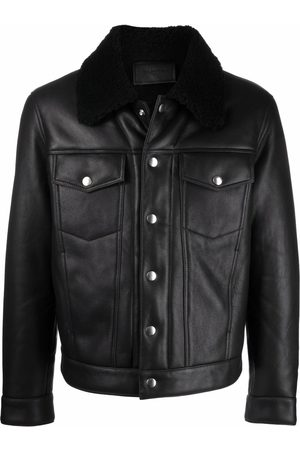 Sandro Shearling-trimmed leather trucker jacket
