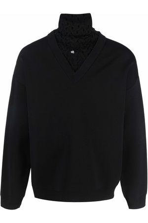 VALENTINO Woven-panel roll-neck jumper