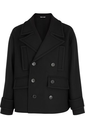 VALENTINO Men Peacoats - Double-breasted wool-blend peacoat