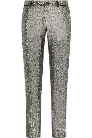 Dolce & Gabbana Men Straight Leg Pants - Sequin-embellished trousers - Grey