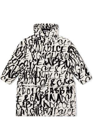 Dolce & Gabbana Girls Puffer Jackets - Quilted logo-print coat