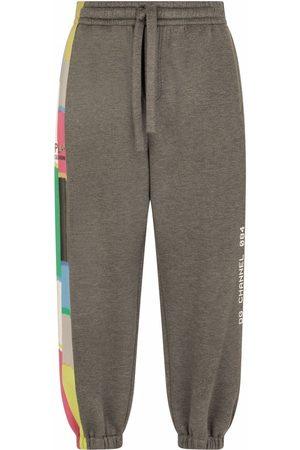 Dolce & Gabbana Men Sweatpants - Stripe-detail track pants - Grey