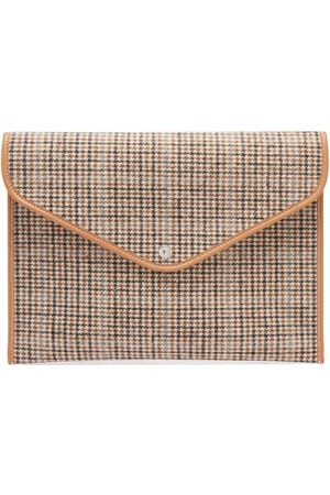 Rue de Verneuil Enveloppe Xl Leather-trim Checked Tweed Pouch - Womens - Multi