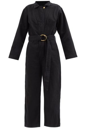 B SIDES Clement Belted Denim Wide-leg Cropped Jumpsuit - Womens