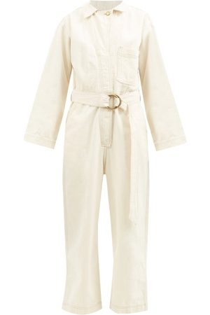B SIDES Clement Belted Denim Jumpsuit - Womens - Ivory
