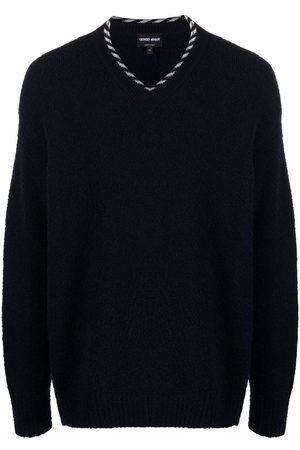 Armani Stripe-trim fine-knit jumper