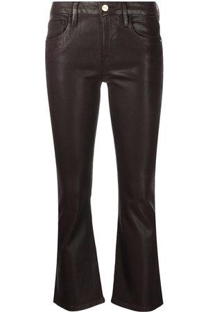 Frame Coated flared-leg cropped jeans