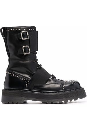 Premiata Silver-studded chunky leather ankle boots