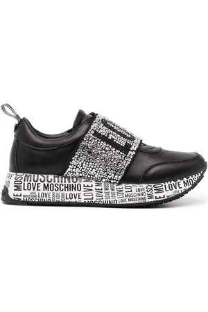 Love Moschino Studded-logo leather sneakers