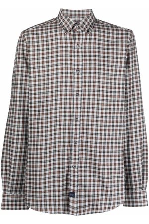 FAY Plaid-print long-sleeve cotton shirt - Grey