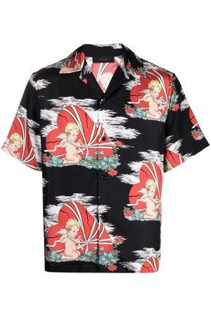 AMIRI Men Short sleeves - Cherub-print short-sleeve silk shirt