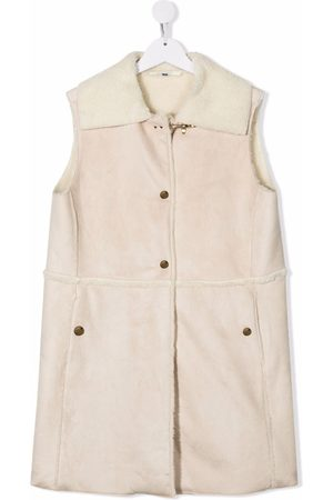 FAY KIDS TEEN shearling sleeveless jacket - Neutrals