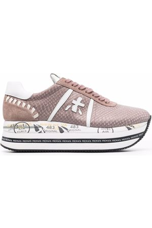 Premiata Beth snakeskin-effect chunky leather sneakers