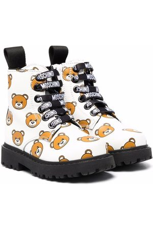 Moschino Teddy bear-print leather ankle boots