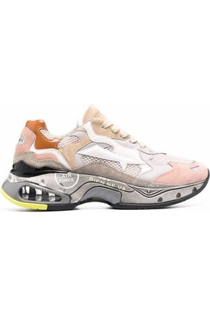Premiata Sharkyd colour-block panelled leather sneakers - Neutrals