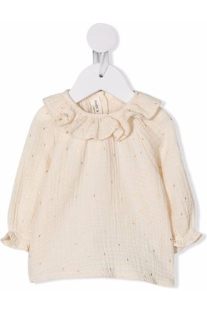 Babe And Tess Frill collar ribbed top - Neutrals