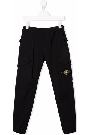 Stone Island Boys Skinny Pants - Compass-patch slim-fit trousers