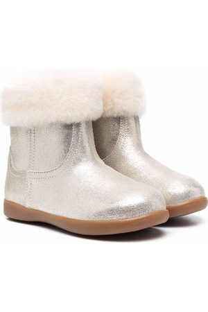 UGG Faux fur-trimmed metallic leather ankle boots