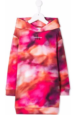 Calvin Klein Girls Printed Dresses - Abstract-print sweatshirt dress