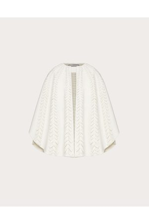 VALENTINO Women Ponchos & Capes - Embroidered Compact Drap Cape Women Ivory 90% Virgin Wool 10% Cashmere M