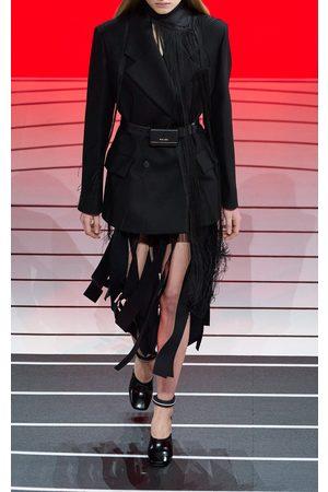 Prada Women's Fringed Wool Midi Skirt - /black - Moda Operandi