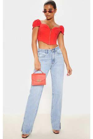 PRETTYLITTLETHING Zip Front Puff Sleeve Top