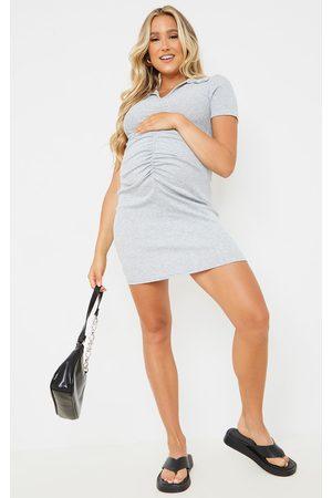 PRETTYLITTLETHING Maternity Grey Ribbed Mini Polo Dress