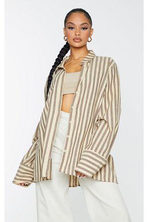 PRETTYLITTLETHING Oversized Stripe Cuff Shirt