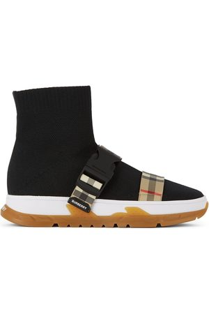Burberry Kids Buckled Strap Union Sock Sneakers