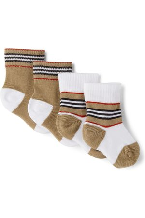 Burberry Baby Two-Pack Icon Stripe Newborn Socks